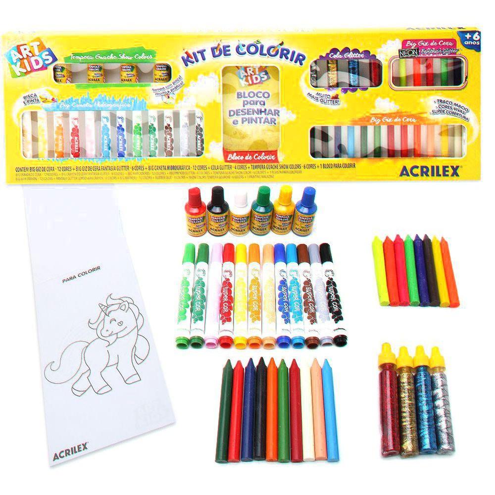 Kit de Colorir - Com Bloco de Desenhar e Pintar - Acrilex