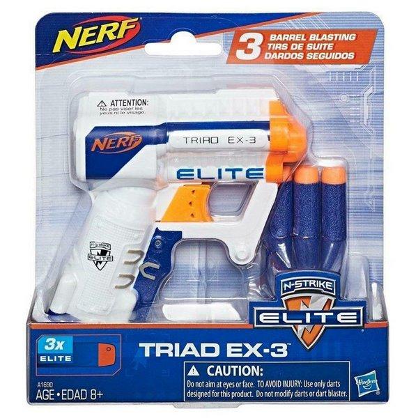 Lançador de Dardos Nerf - N-Strike Elite - Triad EX-3 - Branca - Hasbro