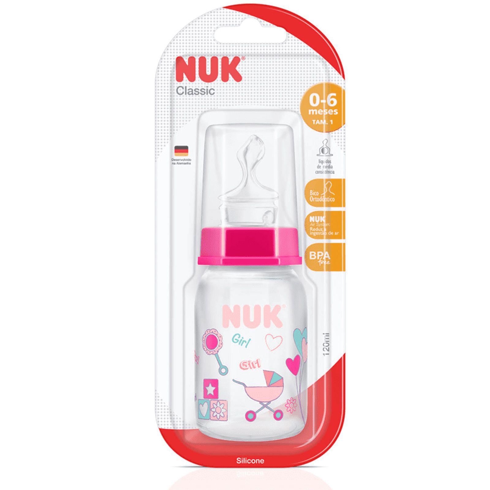 Mamadeira Decorada Rosa - 120 ml - Tamanho 1 (0 à 6 meses) - Nuk