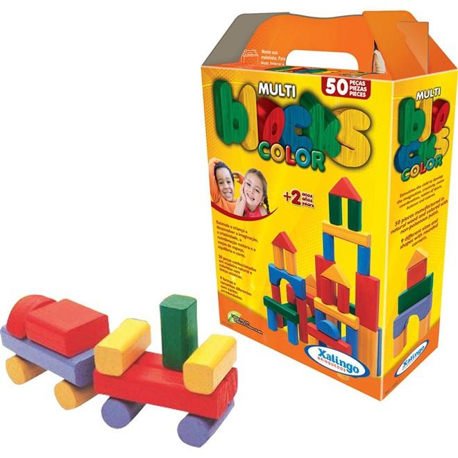 Multi Blocks Coloridos - 50 Peças -  Em Madeira - Xalingo