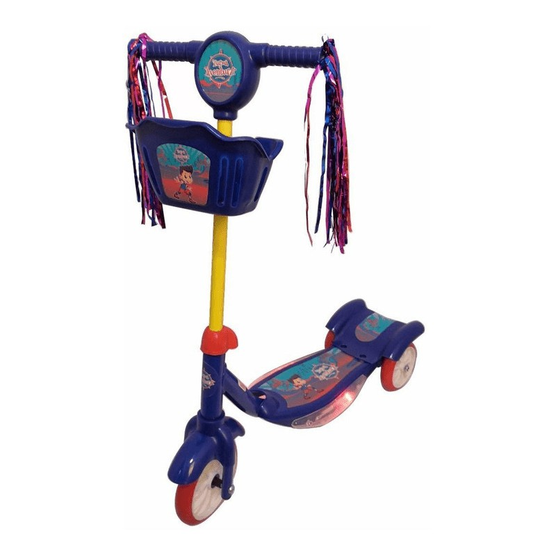 Patinete Infantil - Turma da Aventura - Com LED - Azul - Unitoys