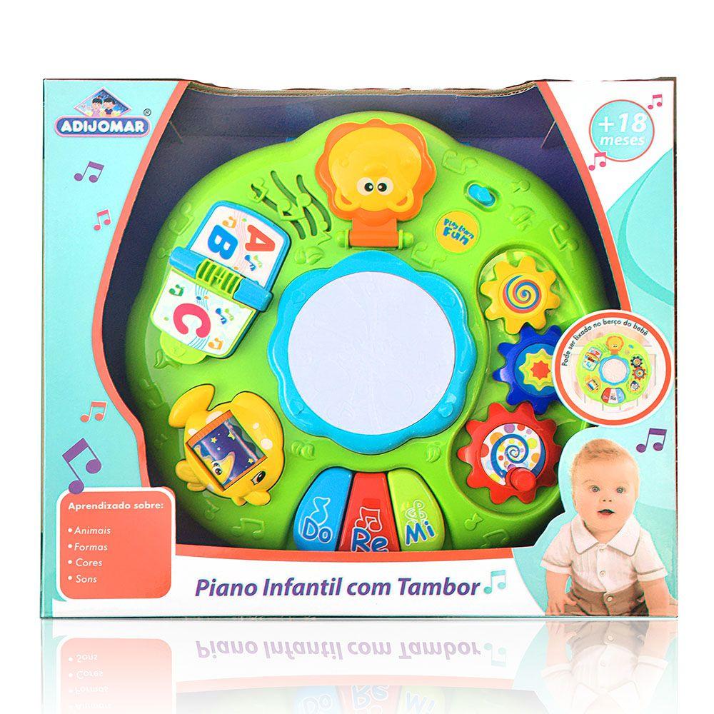 Piano Infantil com Tambor - Com Som e Luz - Adijomar
