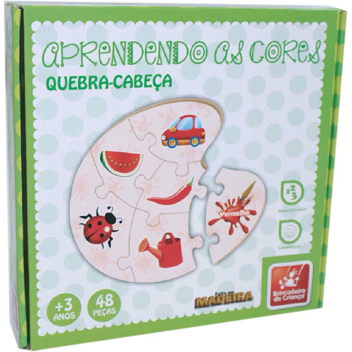 Quebra-Cabeça - Aprendendo as Cores - 48 Peças - Madeira - Brincadeira de Criança