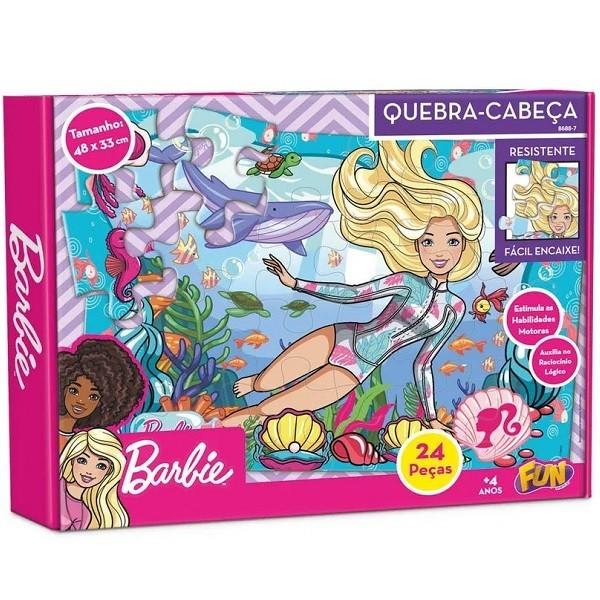 Quebra Cabeça Cartonado - Barbie no Mar - 24 Peças - Fun