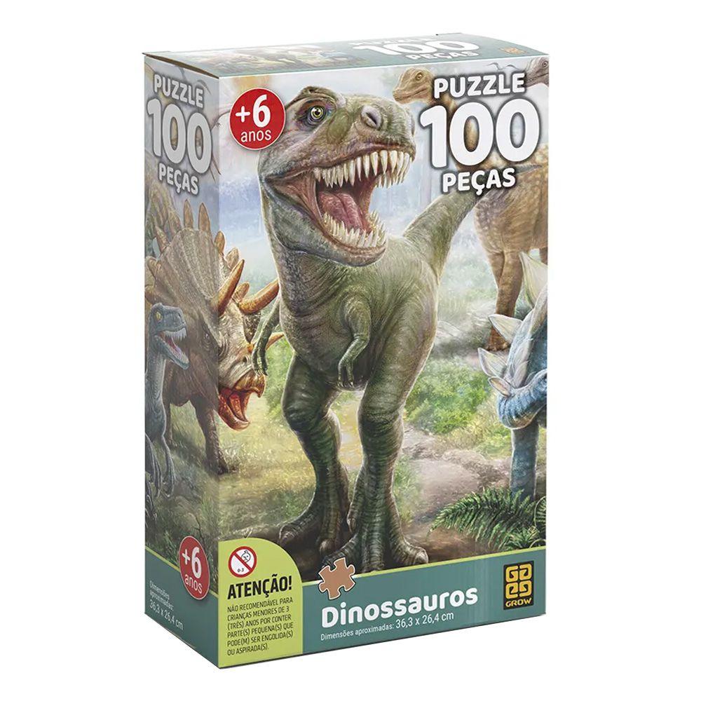 Quebra-Cabeça Dinossauros - 100 Peças - Grow