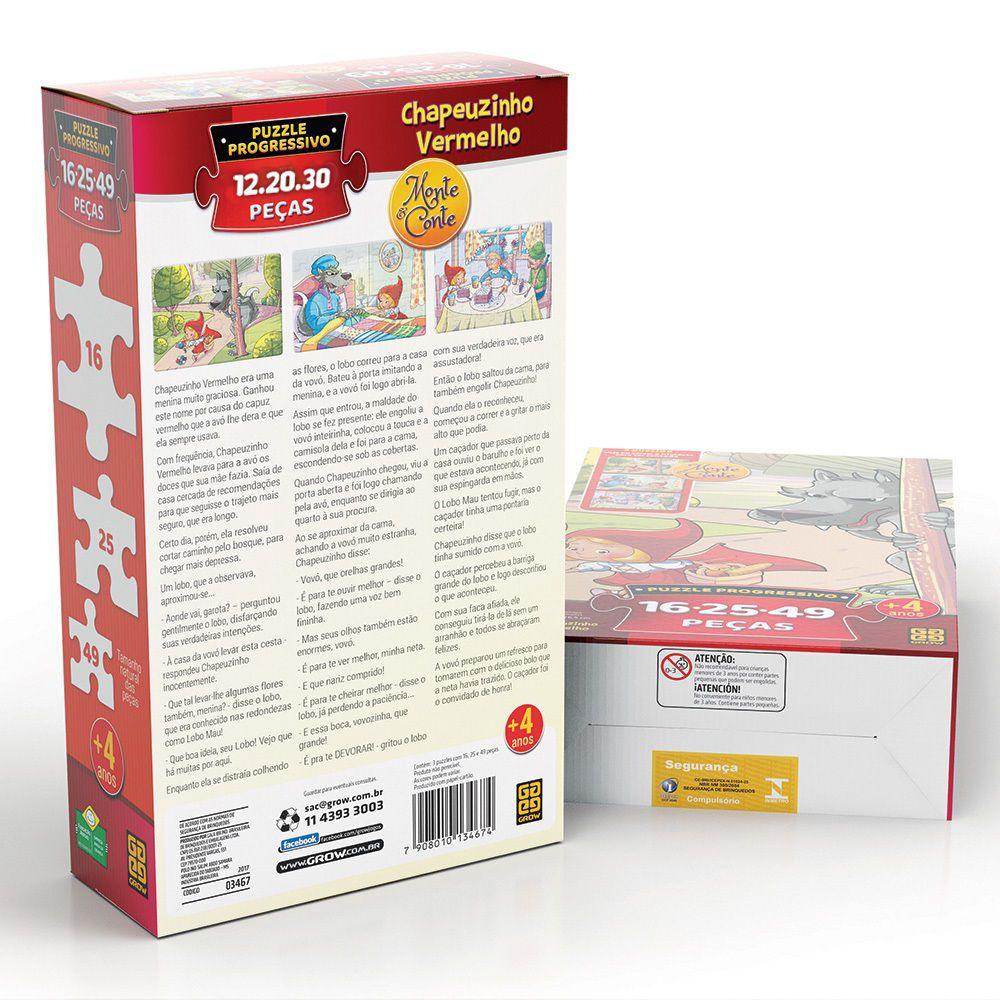 Quebra-Cabeça Progressivo - Chapeuzinho Vermelho - 12, 20 e 30 peças - Grow