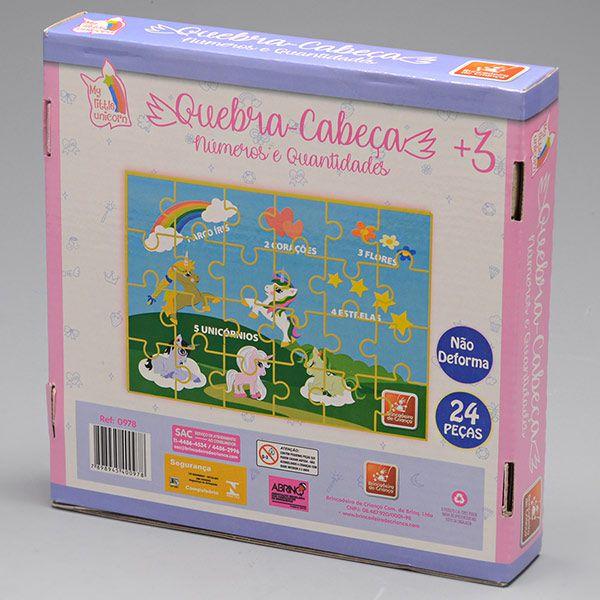 Quebra-Cabeça - Unicórnio - 24 Peças - Madeira - Brincadeira de Criança
