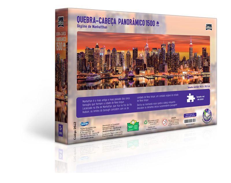 Quebra-Cabeça Panorâmico - Skyline de Manhattan - 1500 Peças - Toyster