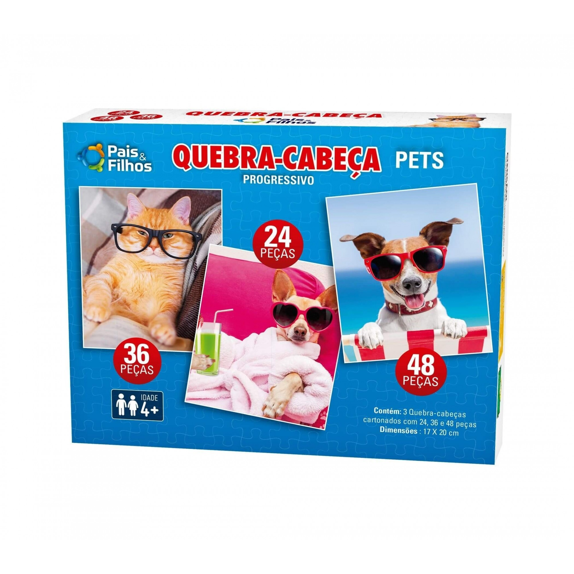 Quebra-Cabeça Progressivo - Pets - 24, 36 e 48 Peças - Pais e Filhos