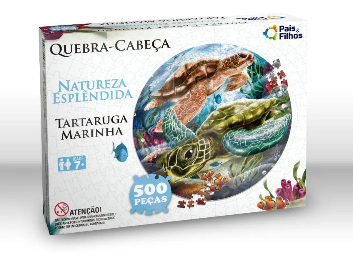 Quebra Cabeça Redondo - Tartaruga Marinha - 500 Peças  - Pais e Filhos