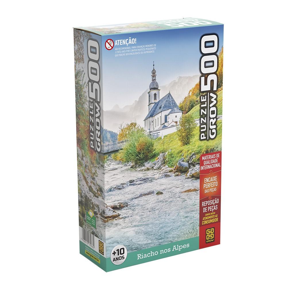 Quebra-Cabeça - Riacho nos Alpes - 500 Peças - Grow