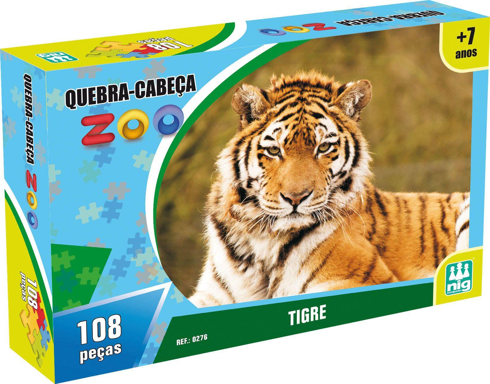 Quebra-Cabeça Zoo - Tigre - 108 Peças - Nig Brinquedos