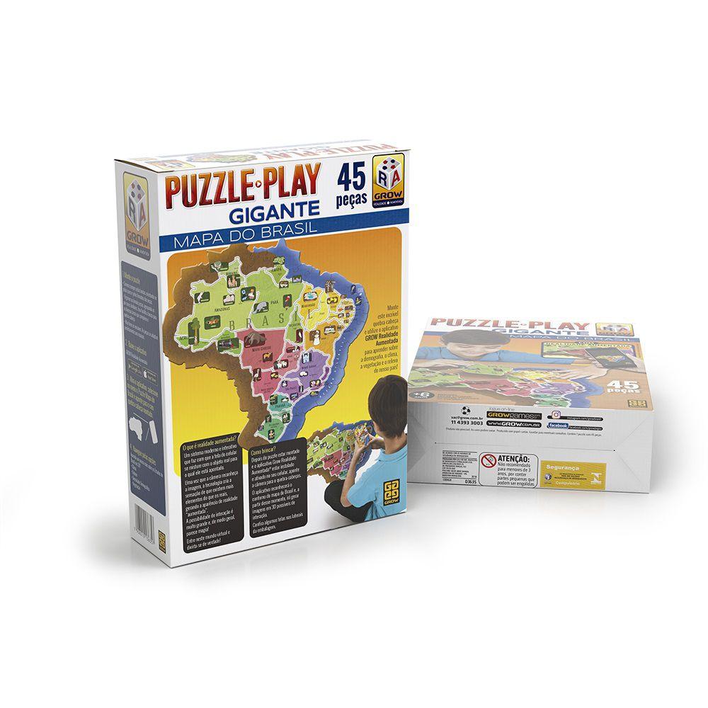 Quebra-Cabeça Gigante - Mapa do Brasil - 45 peças - Grow