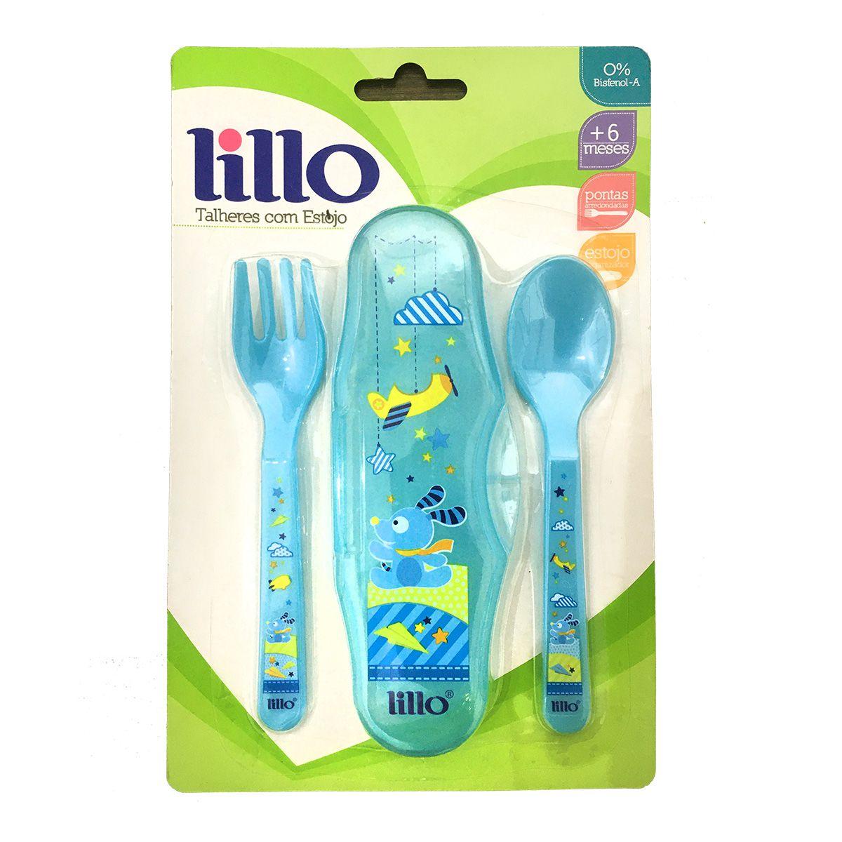 Talheres com Estojo - Azul - Lillo