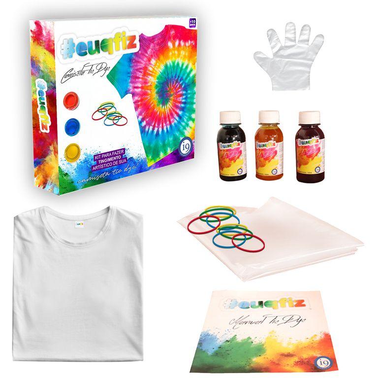 Kit Tie Dye Euqfiz - Camisera para Pintar Tamanho M - I9 Brinquedos