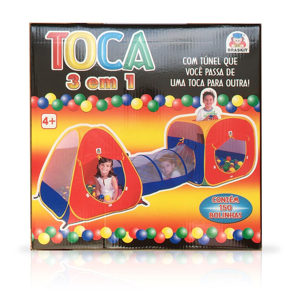 Toca Barraca Infantil 3 Em 1 - 150 Bolinhas -  Braskit