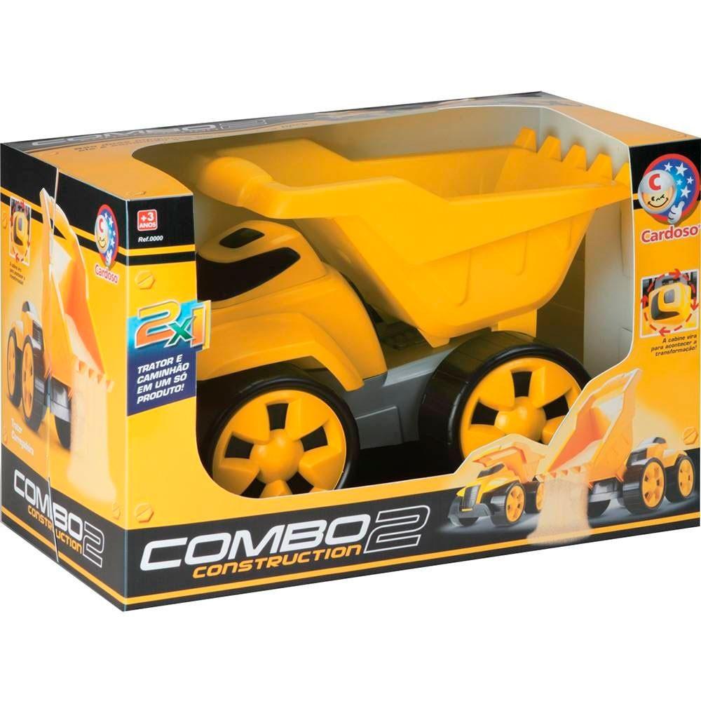 Veículo de Construção - Caminhão e Trator 2 em 1 - Cardoso Brinquedos