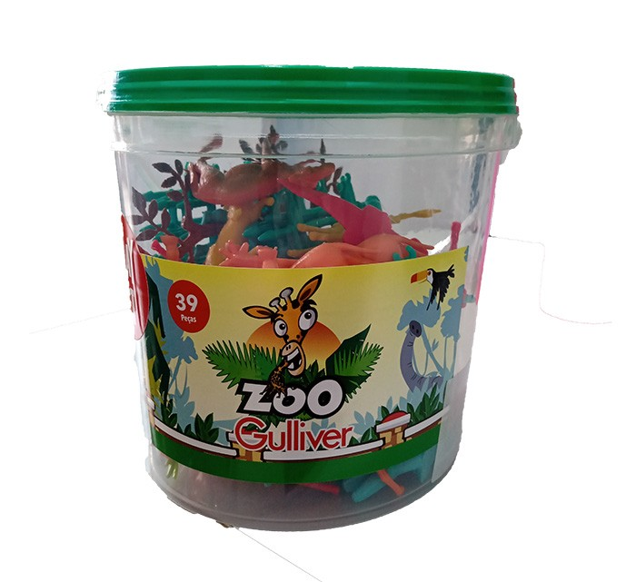 Balde Zoo - Animais do Zoológico - 39 Peças - Gulliver