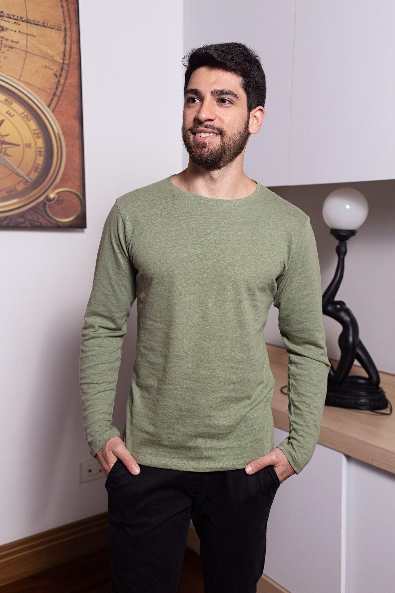 Camiseta Básica de Linho Manga Longa Verde