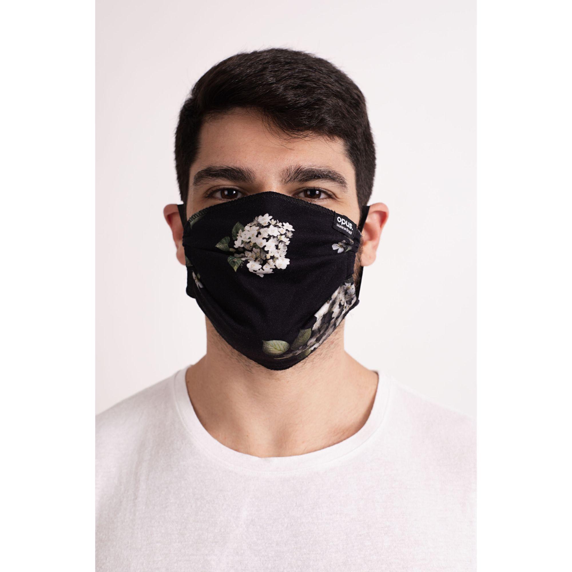 Máscara Estampa Hortênsias