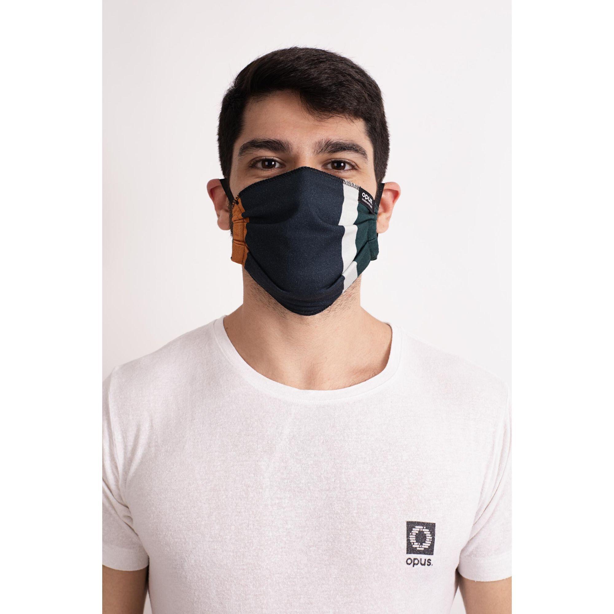 Máscara Estampa Listrada Vertical Azul
