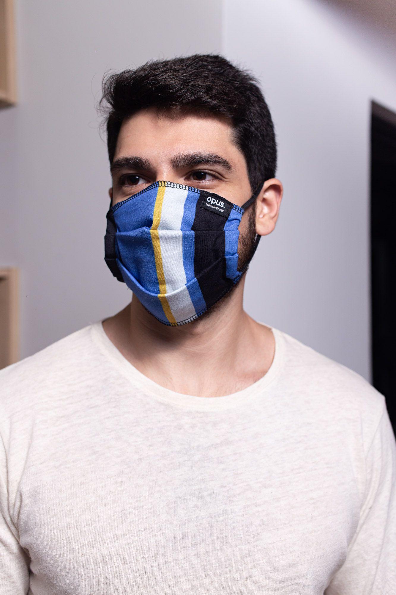 Máscara Estampa Listrada Azul e Preta