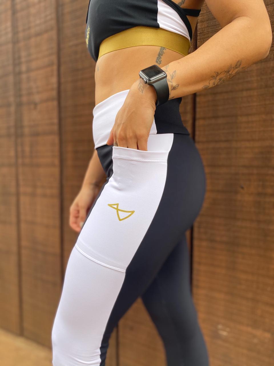 Calça Legging Pocket Preta e Branca