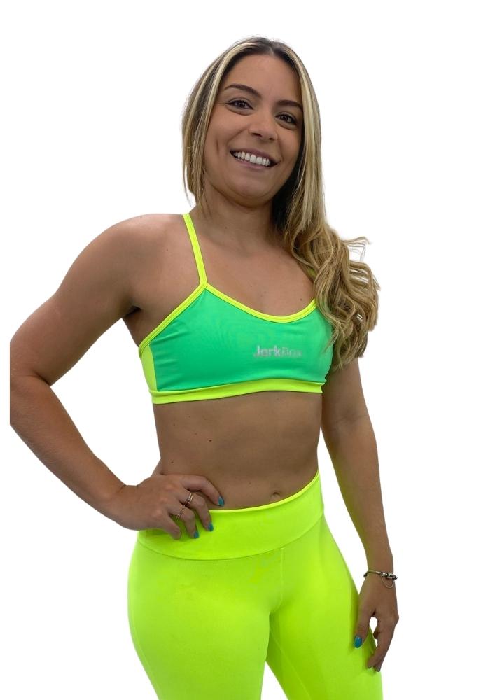 Top Fran Verde Cancun detalhe Neon