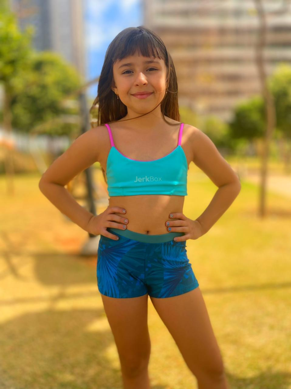 Top Karen Turquesa e Fucsia (Duplaface) - Kids
