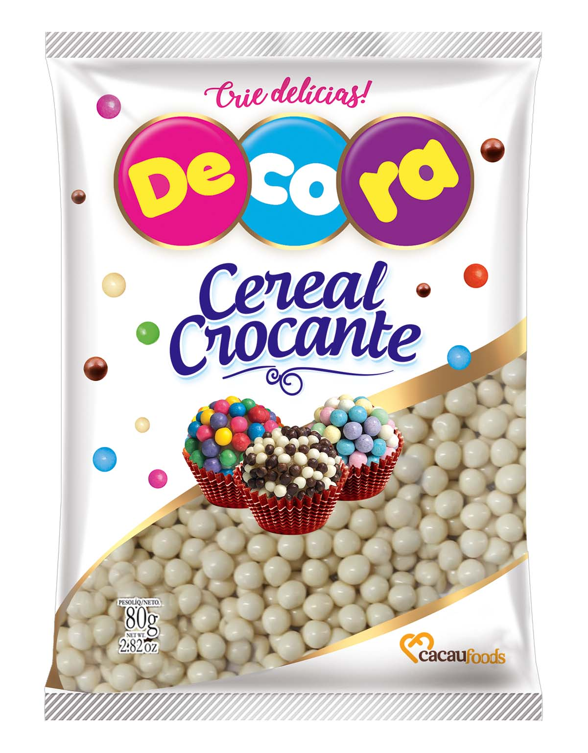 Big Cereal Crocante Decora Sabor Chocolate Branco 80G