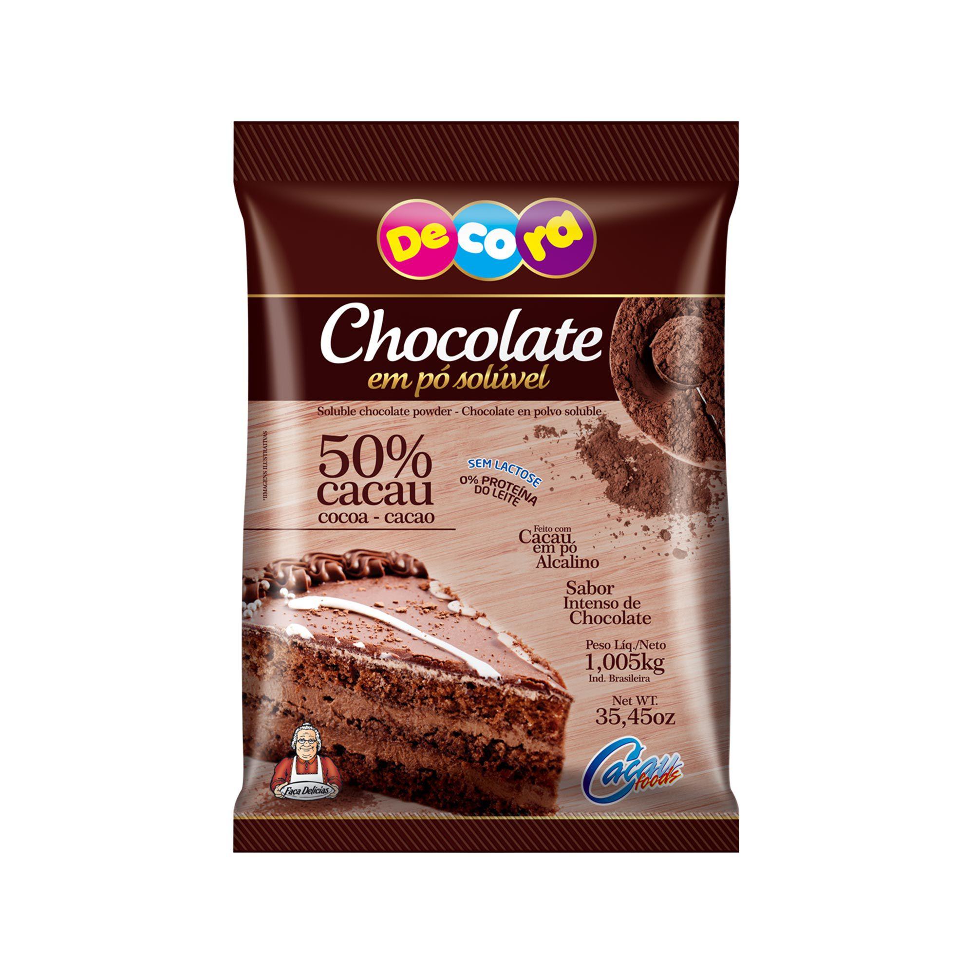 Chocolate Em Pó Solúvel 50% Cacau Decora 1005Kg