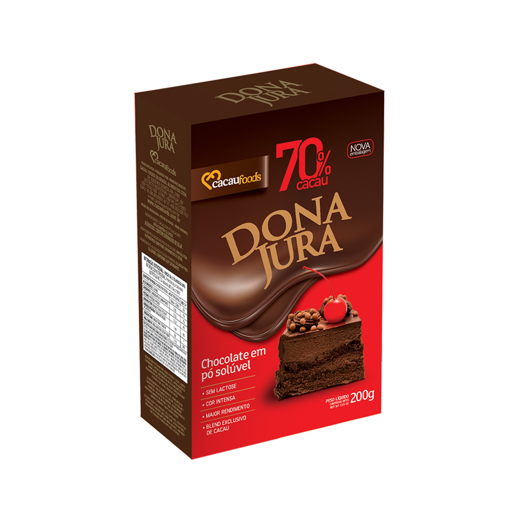 Chocolate Em Pó Solúvel 70% Cacau Dona Jura 200G