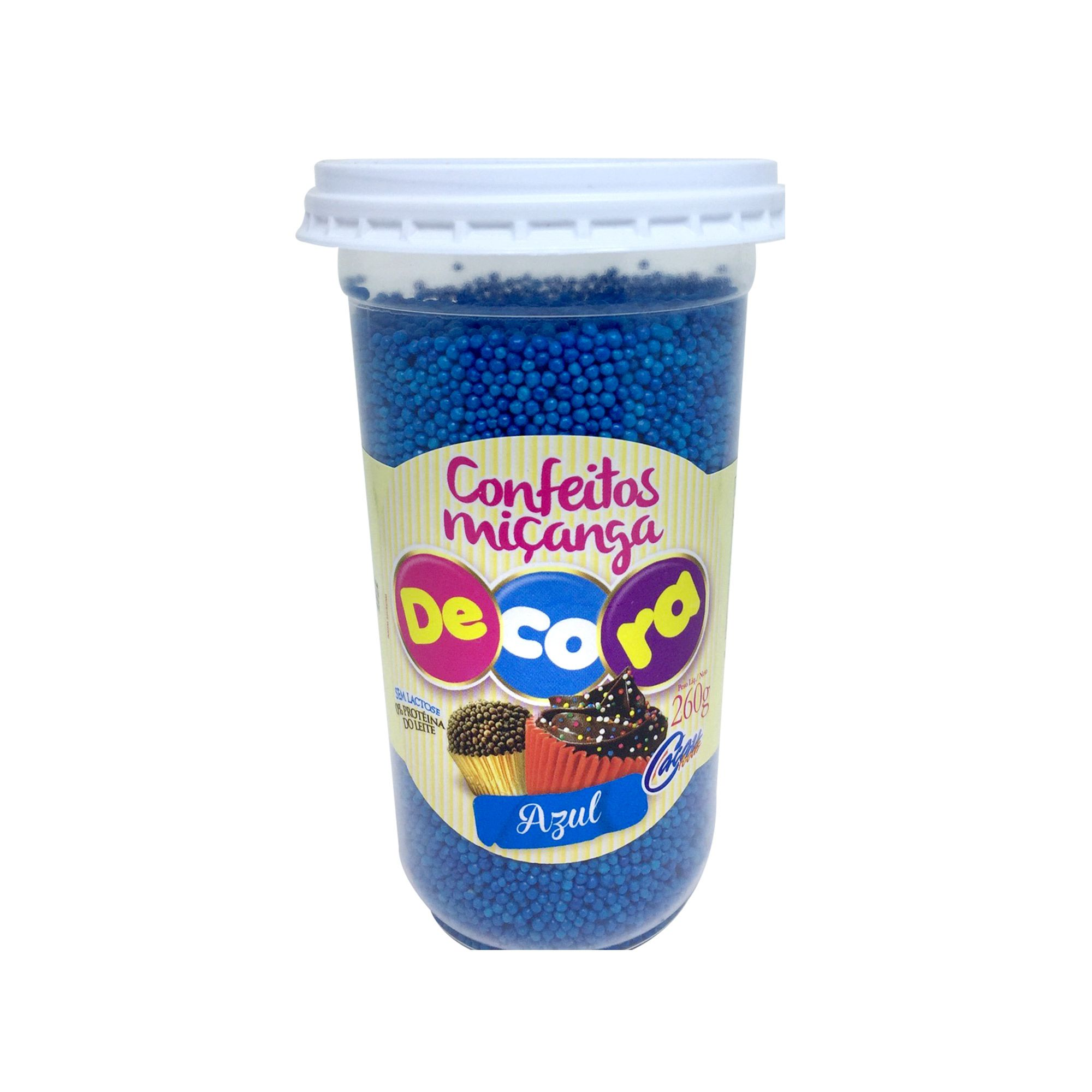 Confeito Miçangas Decora Azul Copo 260G
