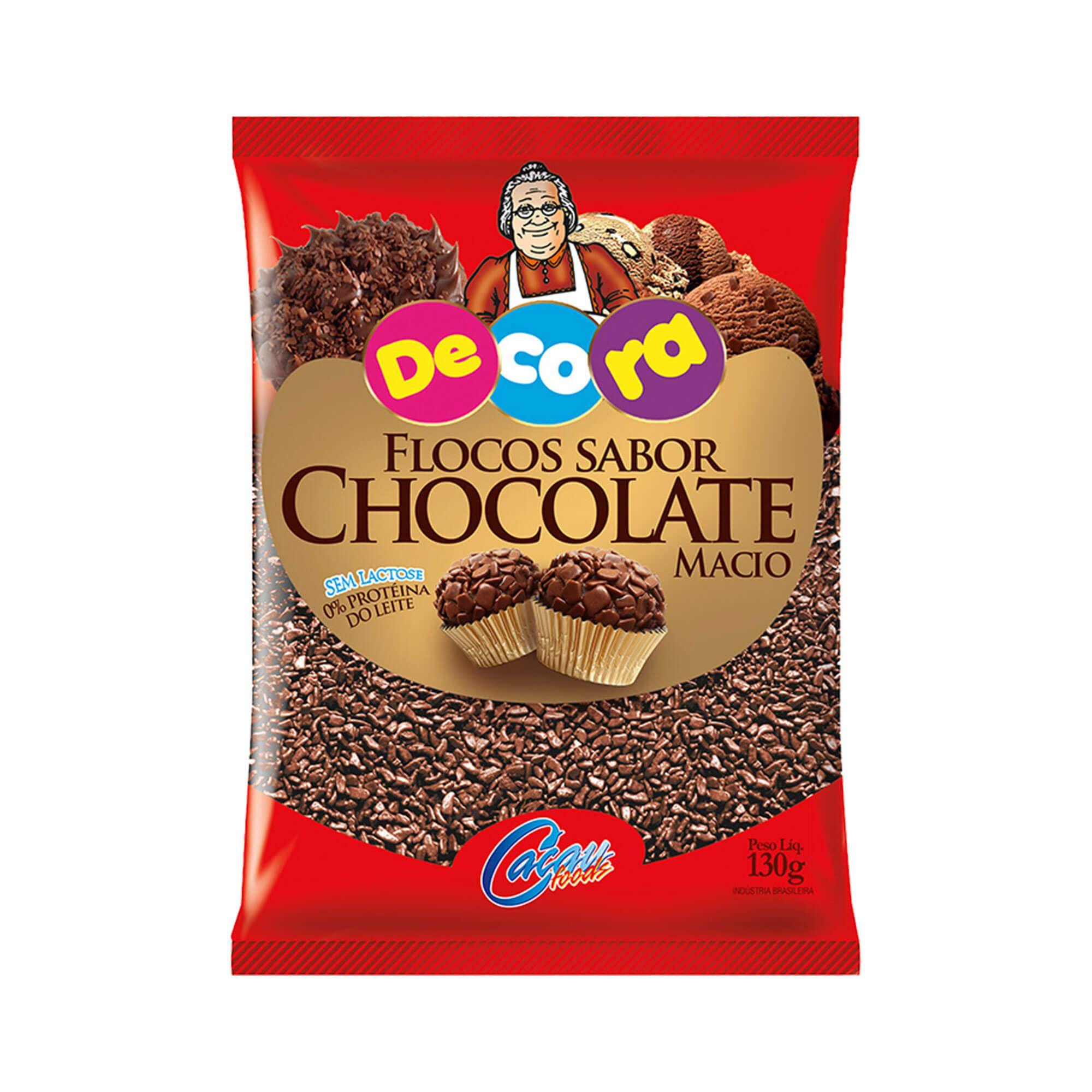 Flocos Sabor Chocolate Macio Decora 130G