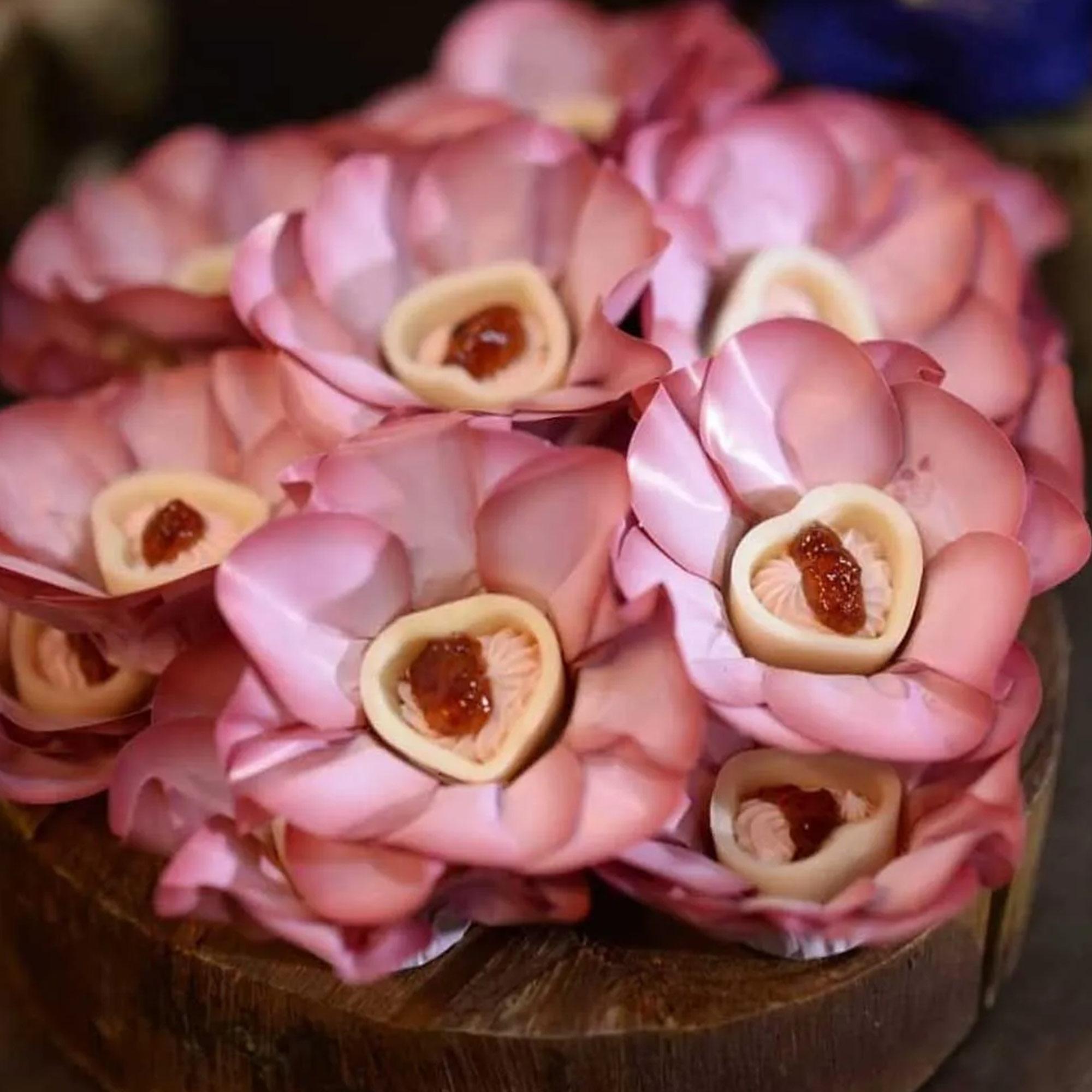 Forminha para Doces Margarida em Papel Especial Floral Rosa Chá Kit 40 Unidades