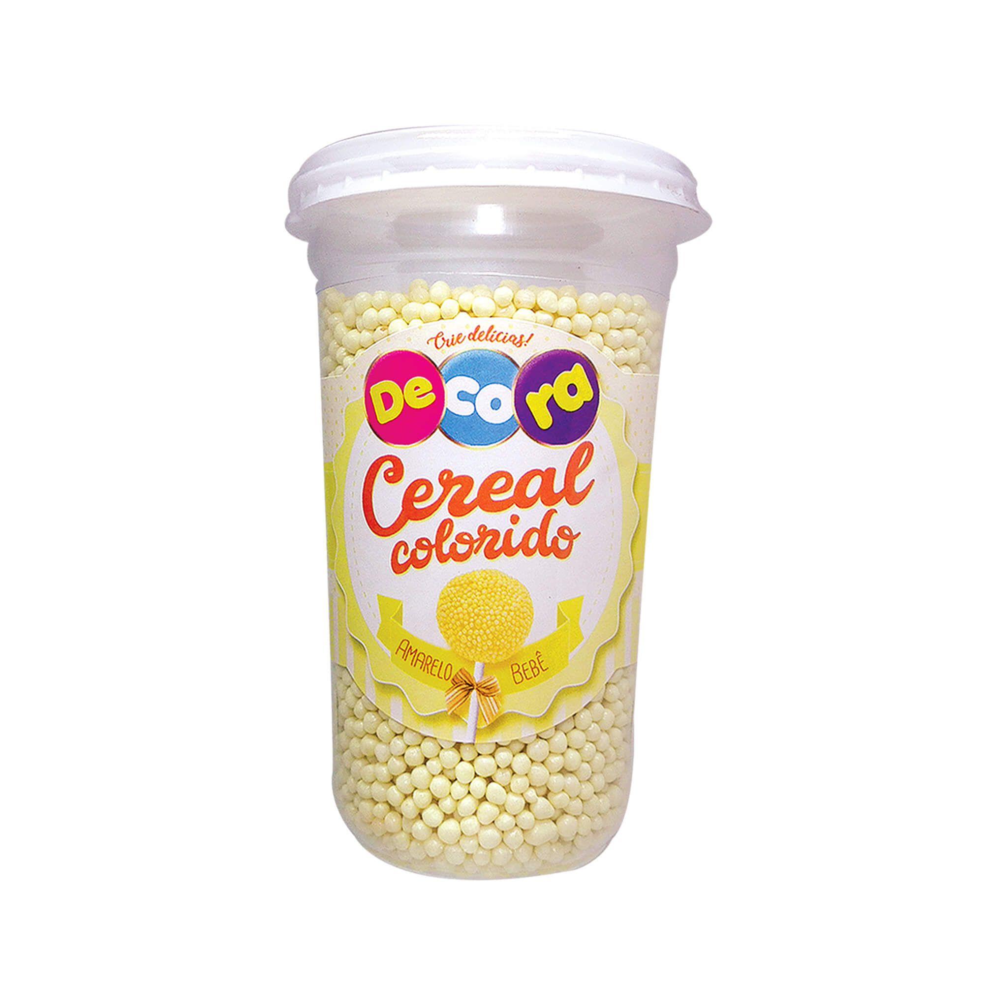 Micro Cereal Colorido Decora Amarelo Bebê Copo 160G