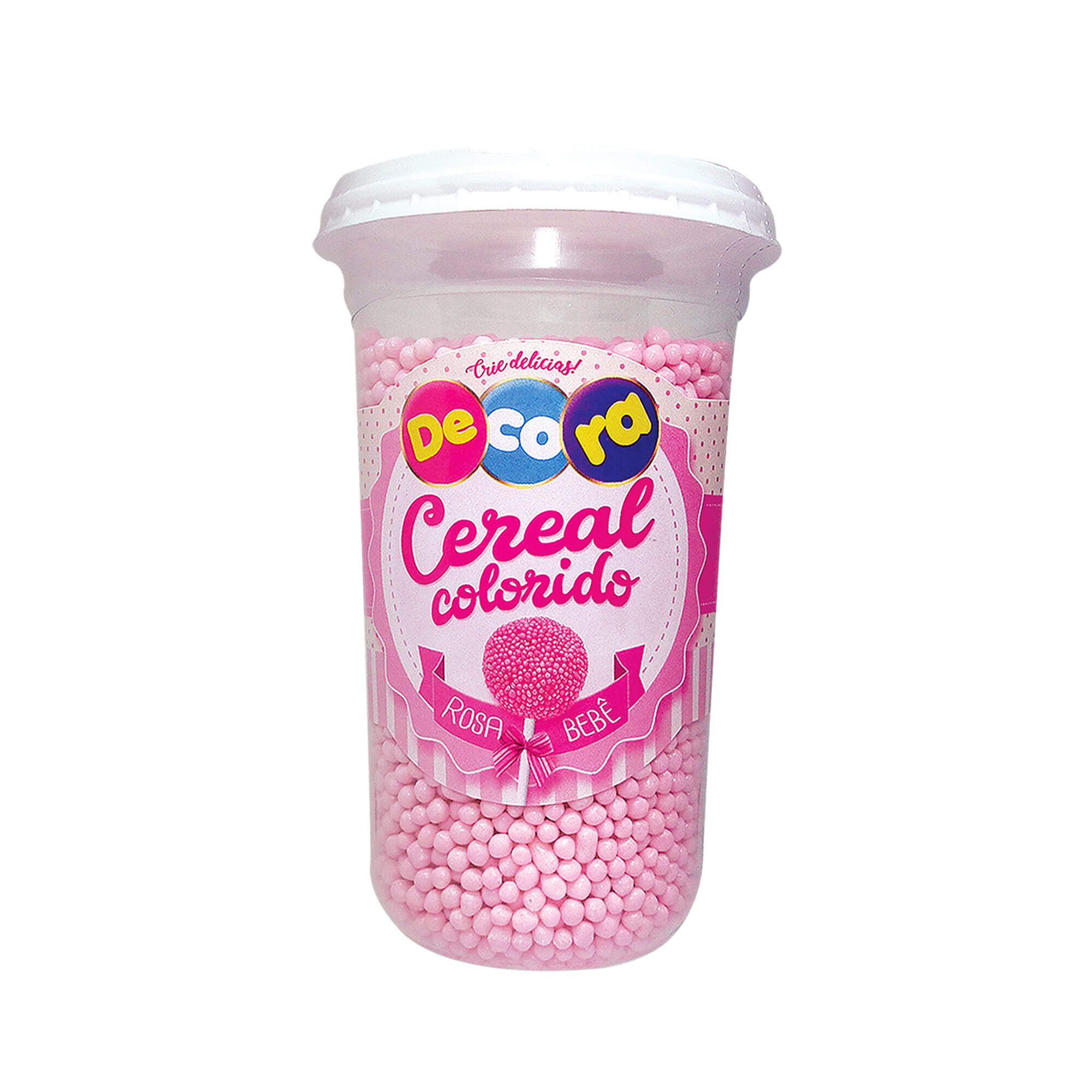Micro Cereal Colorido Decora Rosa Bebê Copo 160G