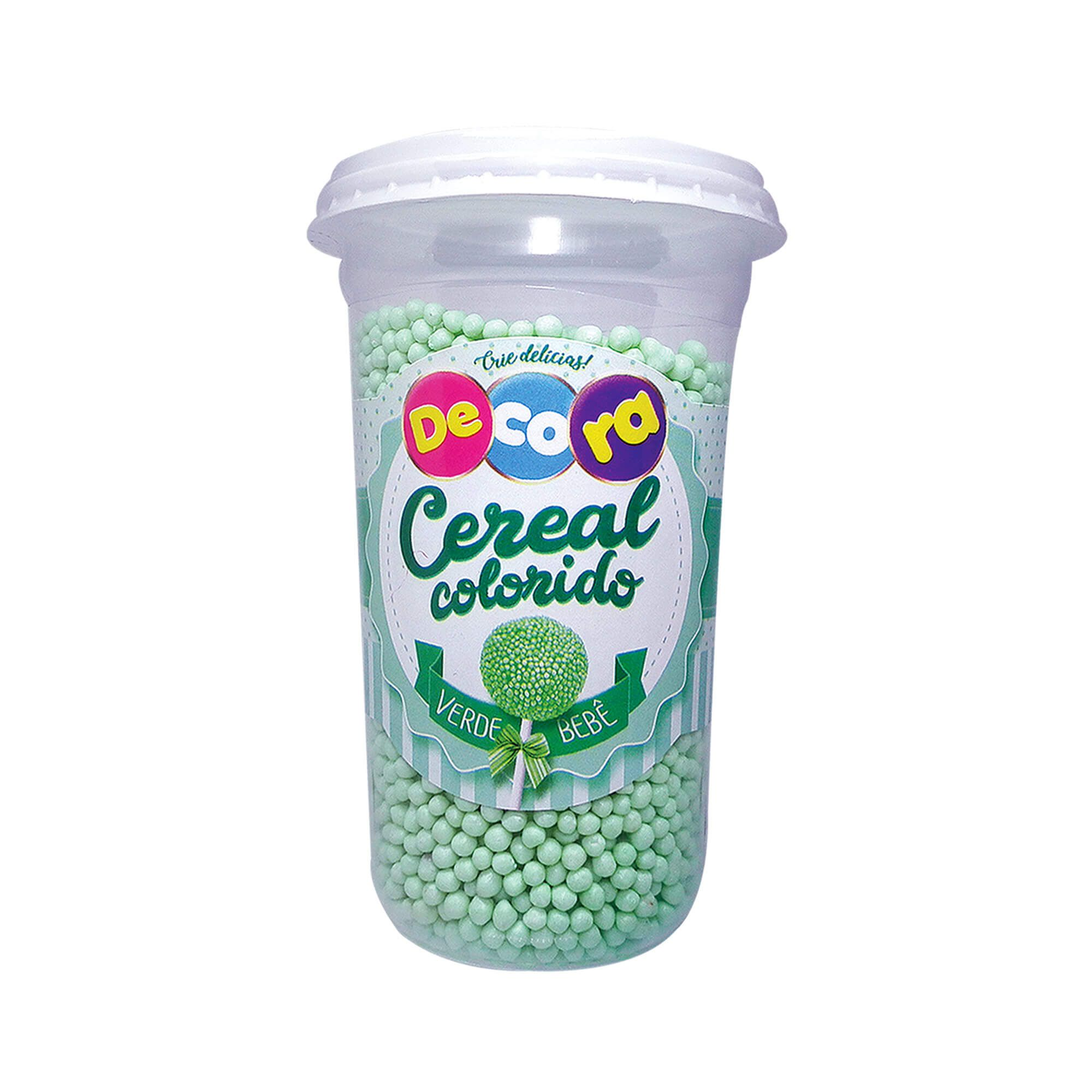 Micro Cereal Colorido Decora Verde Bebê Copo 160G