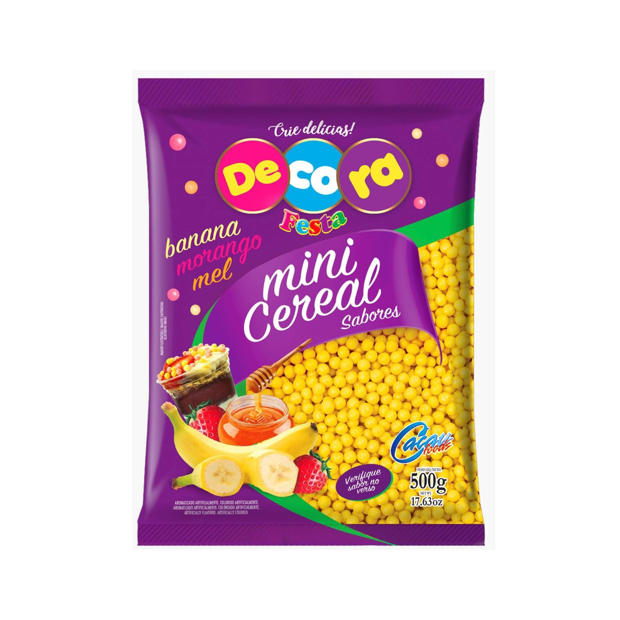 Mini Cereal Crocante Decora Sabor Banana 500g