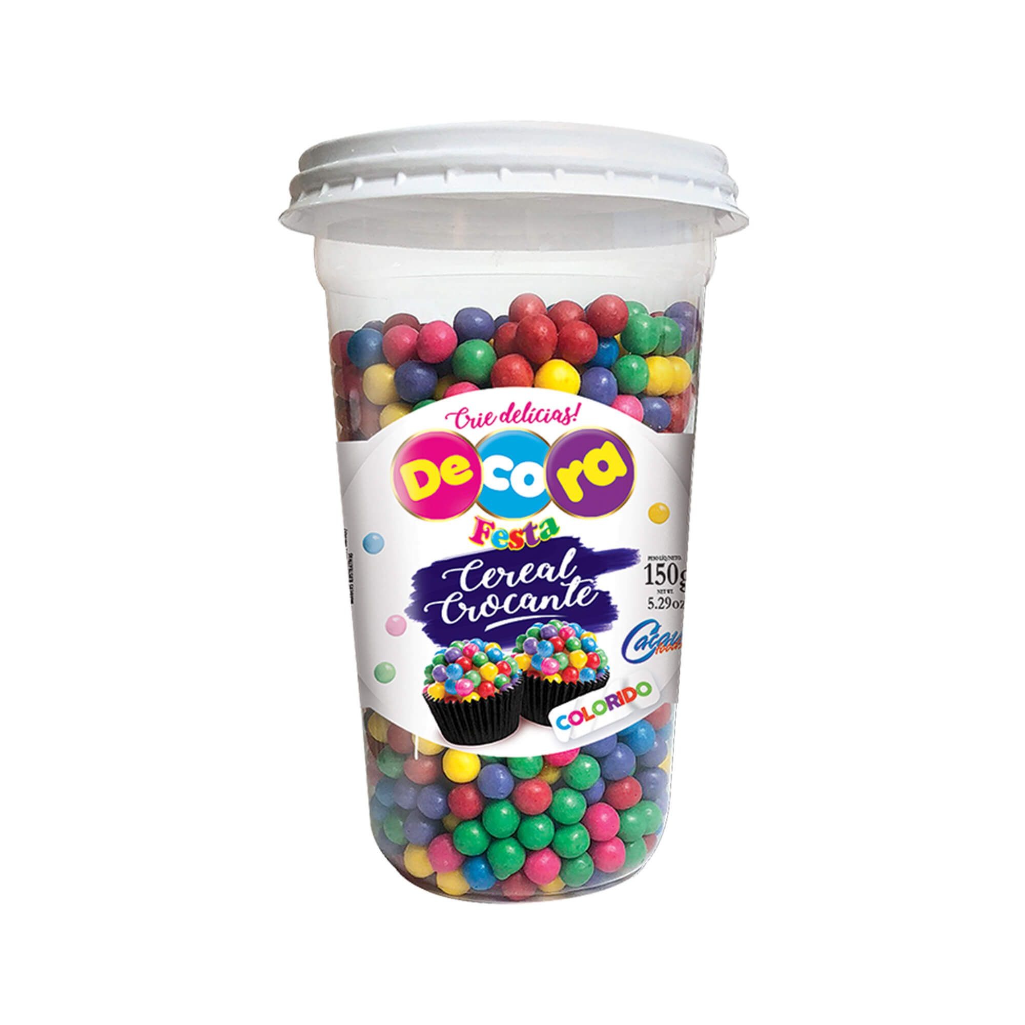 Mini Cereal Crocante Vibrante Decora Colorido Copo 150G