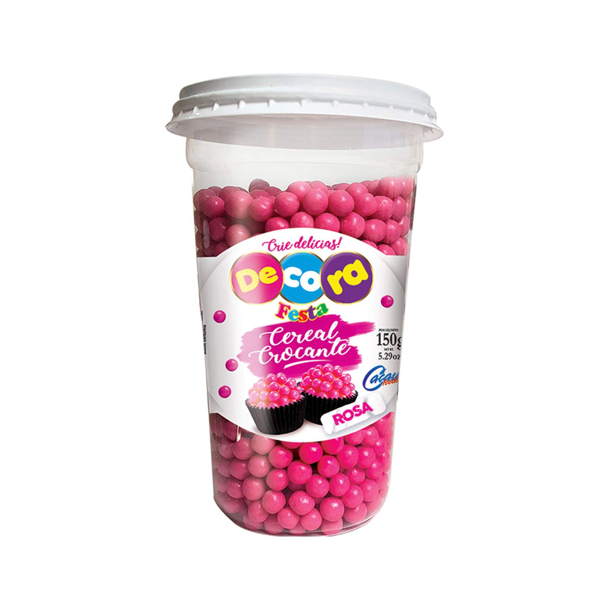 Mini Cereal Crocante Vibrante Decora Rosa Copo 150G