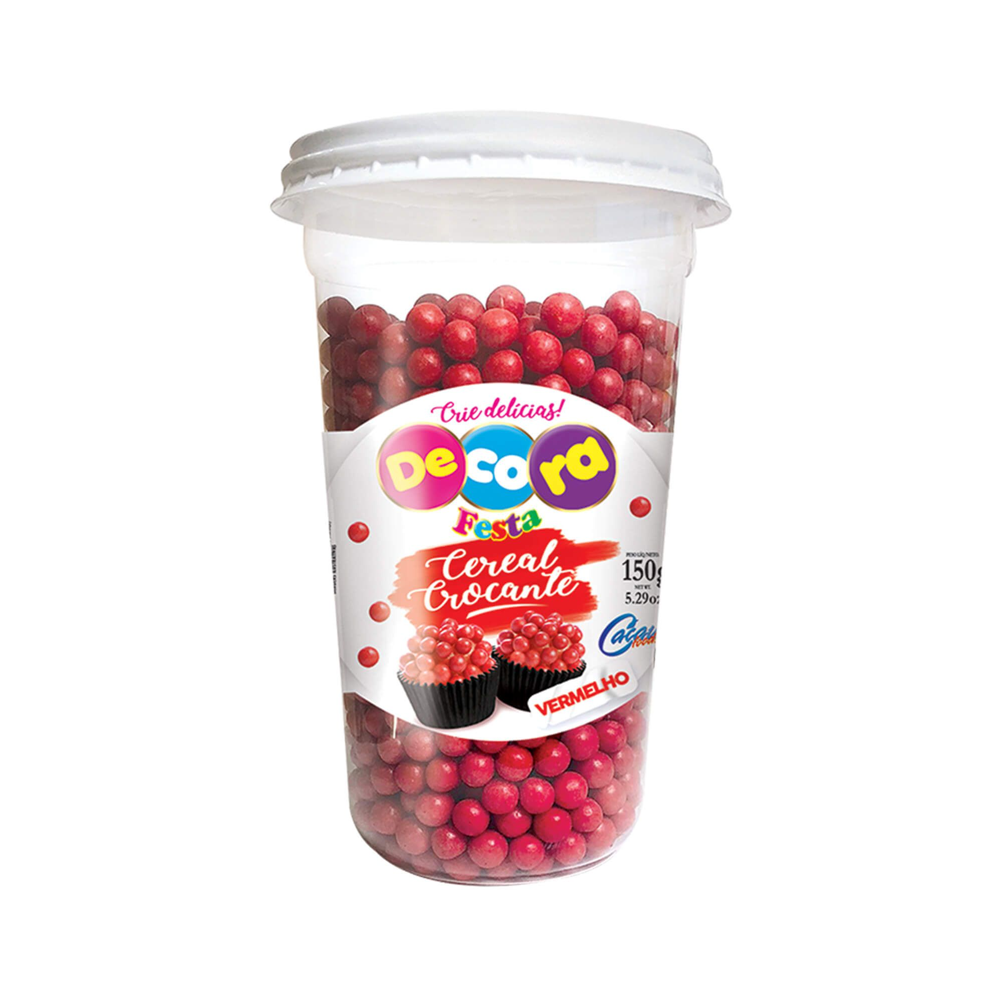 Mini Cereal Crocante Vibrante Decora Vermelho Copo 150G