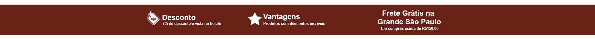 faixa de descontos e vantagens frete grátis na Grande São Paulo