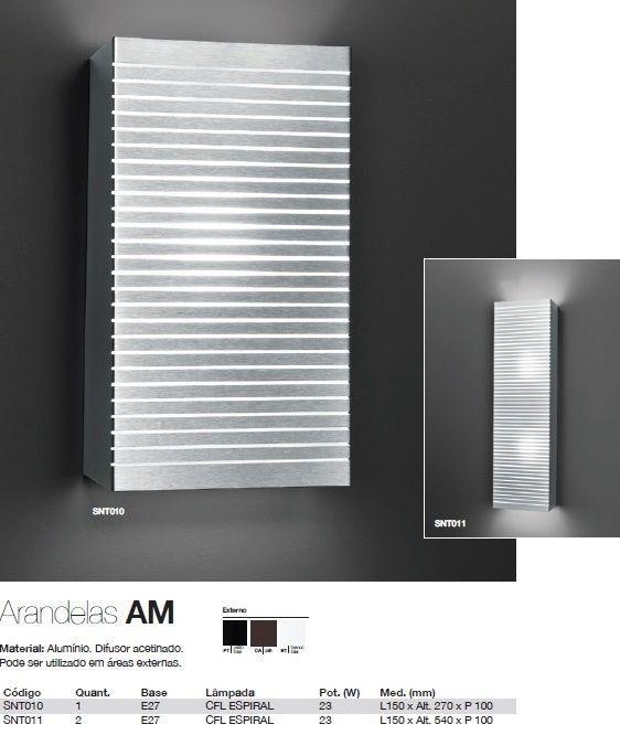Arandela Alumínio Price Retangular 15 x 27 cm