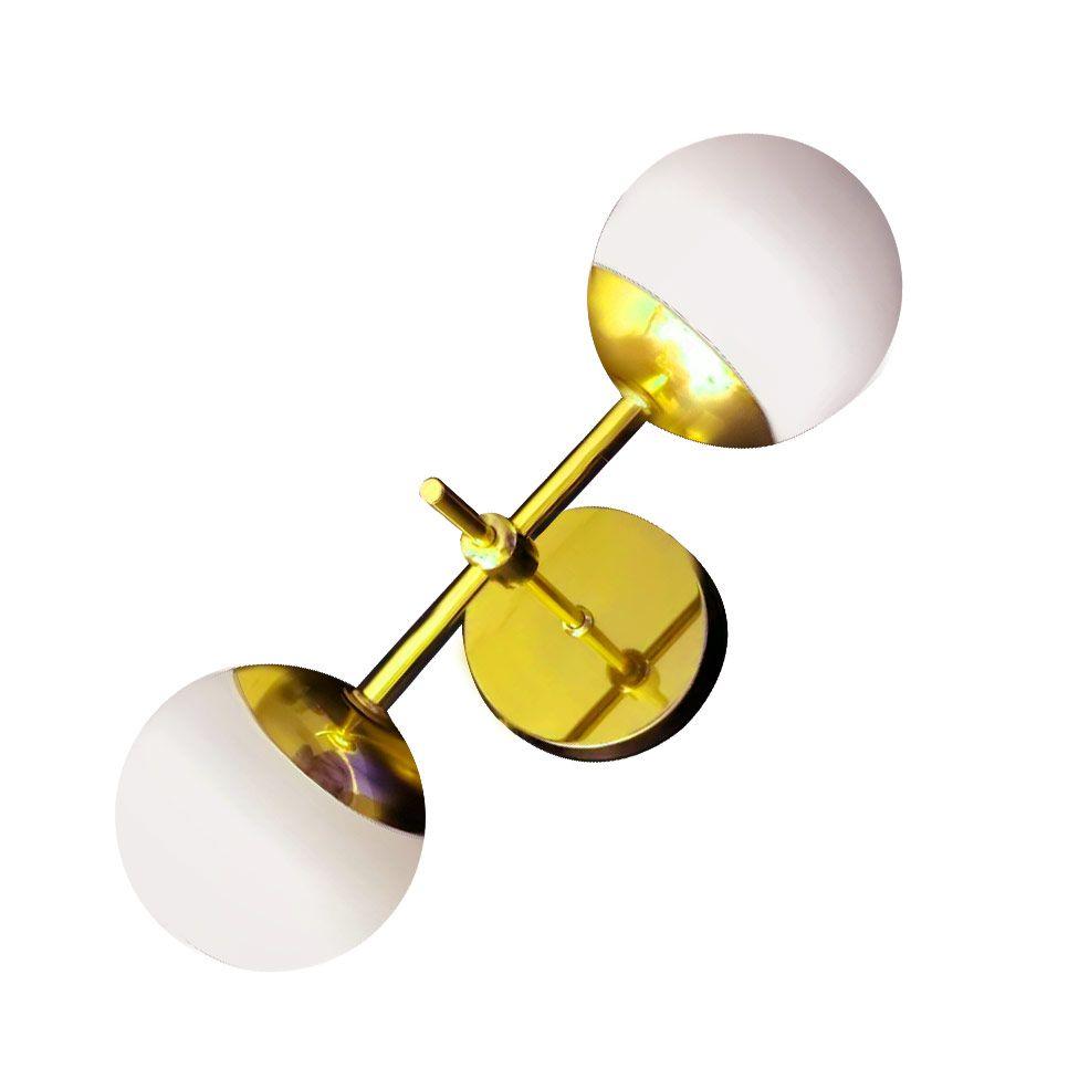 Arandela Jabuticaba Dourada Globo Vidro Branco Fosco