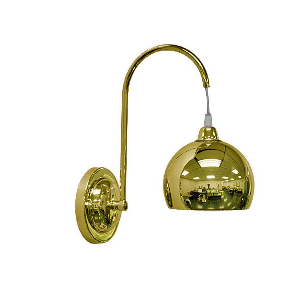 Arandela Latão Braço Curvo Golden Art P202