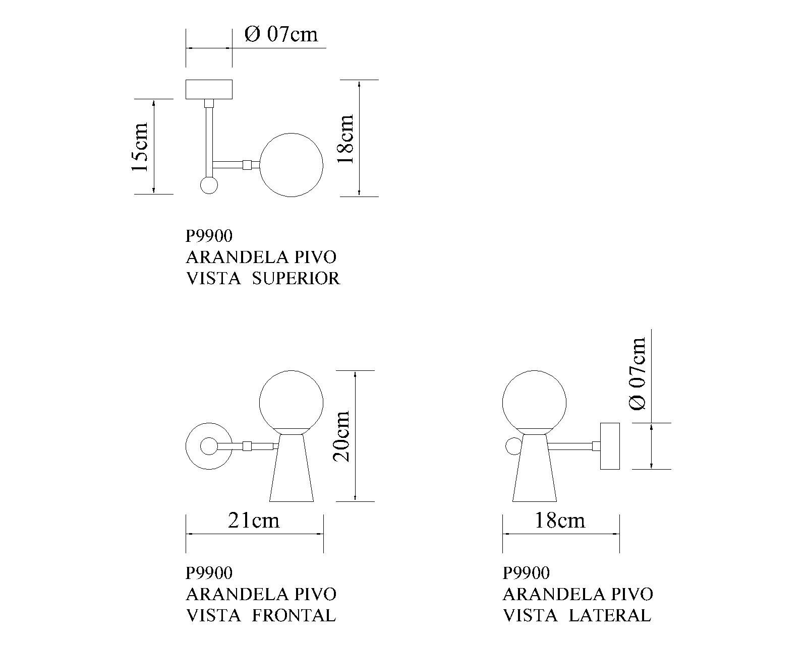 Arandela Pivô 2 Focos de Luz Regulável Golden Art P9900