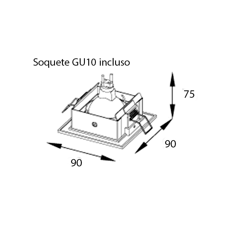 Embutido Dicroica Recuado 90mm RE-1123 Kit com 5 Peças
