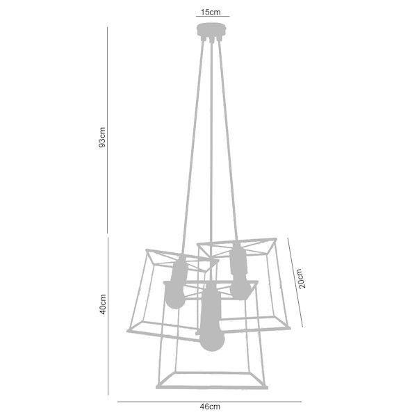 Luminária Pendente Conjunto 3 Quadrados Rústicos Premier P141023