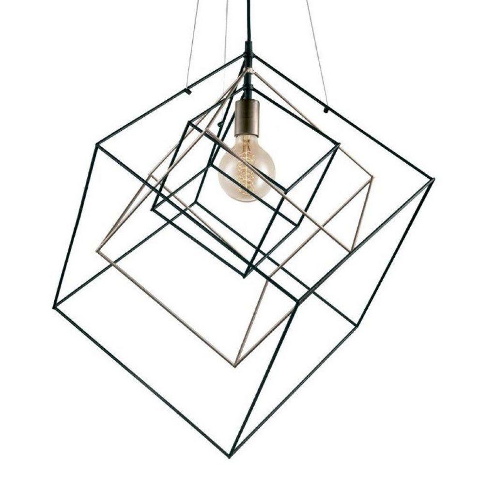 Luminária Pendente Metal Preto Dourado Cubos Geométricos New Line PD1106